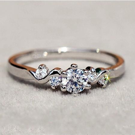 Women's Pretty CZ Inlaid Alloy Ring