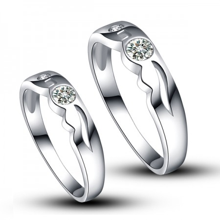 Platinum Plated 925 Sterling Sivler With Synthetic Diamond Couple Ring For Lovers(Price For a Pair)