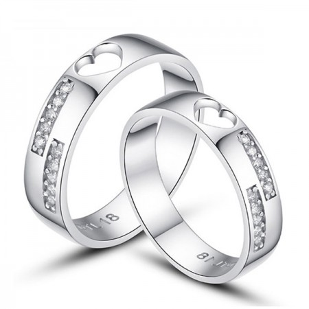 925 Sterling Silver Hollow Out Heart Couples Ring With CZ(Price For a Pair)