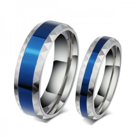 Romantic Blue Titanium Steel Couple Rings For Lovers(Price For a Pair)
