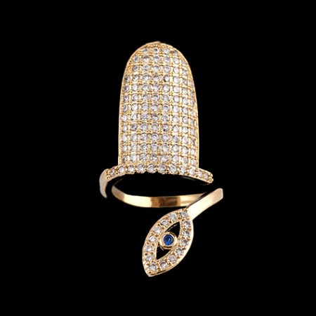 Hot Selling Eye-shape Cubic Zircon Gold-plated Nail Ring For Women