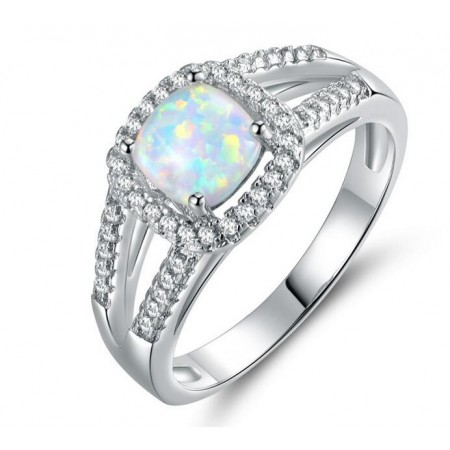White Opal & Cz Sterling Silver Ring