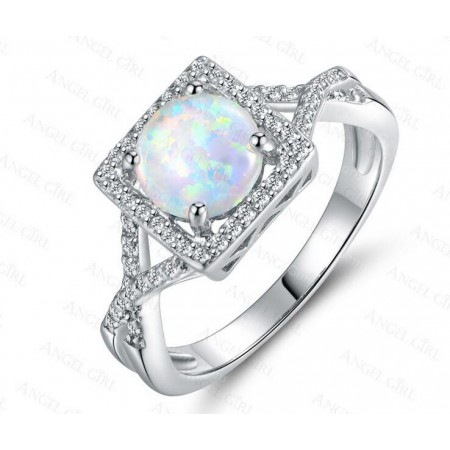 Pretty Round Opal & Cz Sterling Silver Ring
