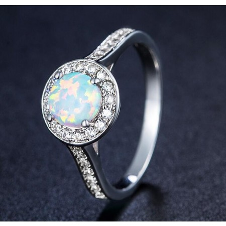 Unique Round Opal & Cz Sterling Silver Ring
