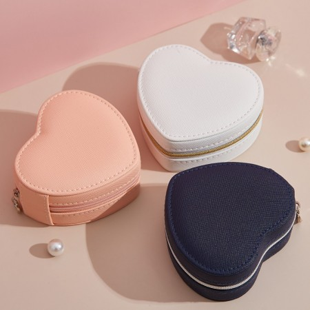 Heart Jewelry Box Organizer - Women Display Storage Case PU Leather Jewelry Holder with Zipper for Earring Ring Necklace Bracelet