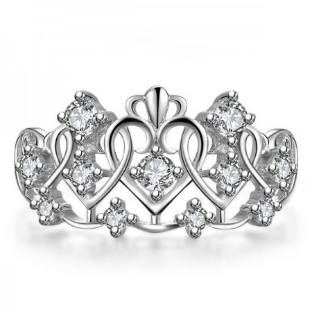 Romantic Hear-shaped Crown Round CZ Inlaid Hollow 925 Sterling Silver Women's Ring