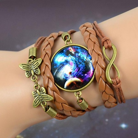 Exquisite Starry Shape Time Stone Handmade Multilayered Wrap Bracelet