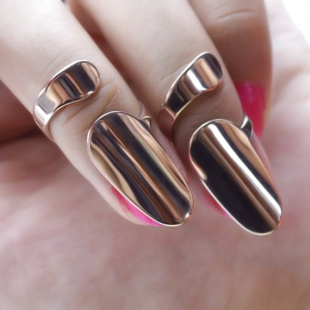 Fashion Simple Rose Gold-plated Titanium Steel Opening Nail Ring For Women