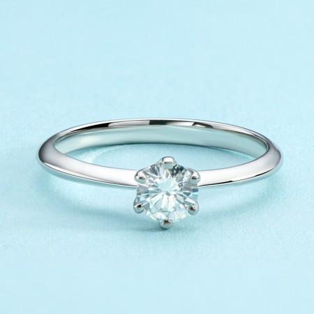 Sterling Silver 0.5 ct Moissanite Promise/Wedding/Engagement Ring For Women Girl Friends Valentine's Day Gift