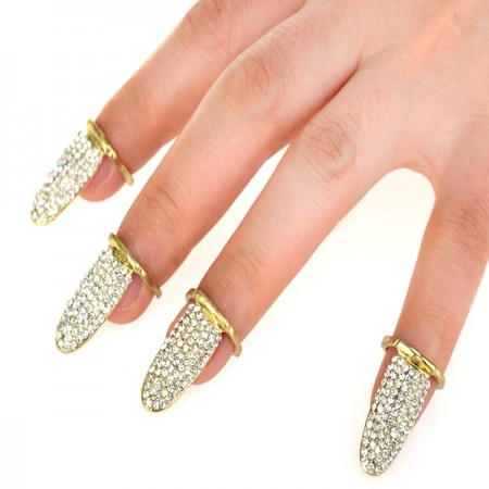 Hot Selling Alloy Rhinestone Inlaid Opening Nail Ring For Women