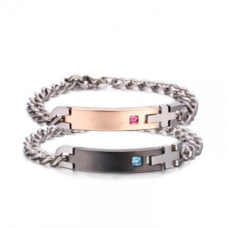 Personalized Pink Champagne and Black Crystal Inlaid Titanium Couple Bracelets (Price For A Pair)