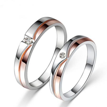 925 Sterling Silver Romantic Couple Rings Korean Simple Cubic Zirconia Rings