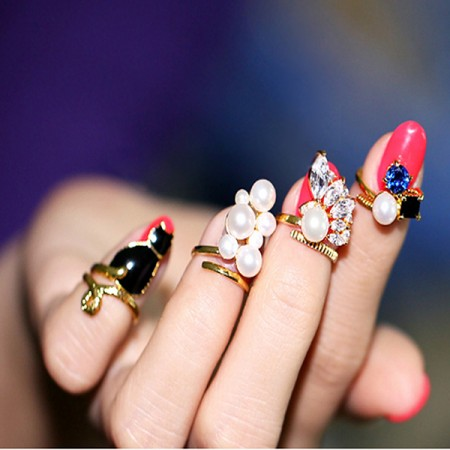Charming Copper Gold-plated Pearl Four Pieces Nail Ring Set For Women