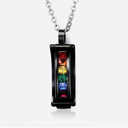 Charming Black Gold-plated Cubic Zircon Inlaid Titanium Steel Men And Women's Necklace