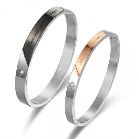 Romantic Plum Blossom Style Diamond Inlaid Lovers Couple Bracelets