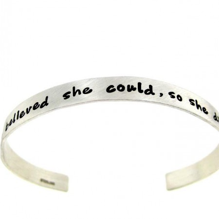 """""""She believed she could,so she did"""" Hand Stamped Sterling Silver Cuff Bracelet"""
