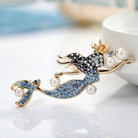 Romantic Color Crystalline Mermaid Design Right Side Ear Cuff