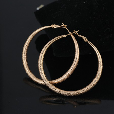Lovely Brushed Copper Round Hoop Earrings