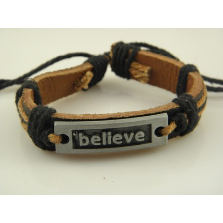Believe Handmade Leather Bracelet