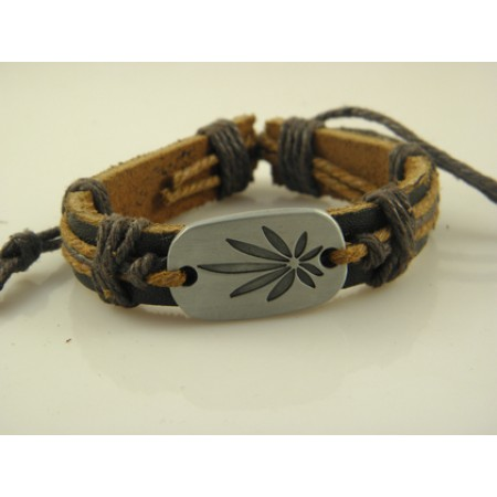 Elegant Leaf Handmade Leather Bracelet