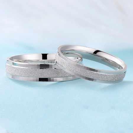Fine Matte Mirror Polished S925 Silver Couple Rings