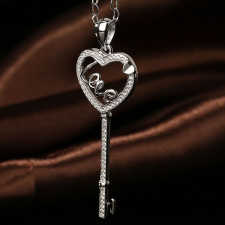 Love Key 925 Sterling Silver Sweater Chain Necklace