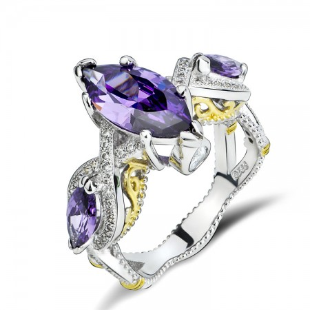Unique Design 925 Sterling Silver Ring With Amethyst Inlaid