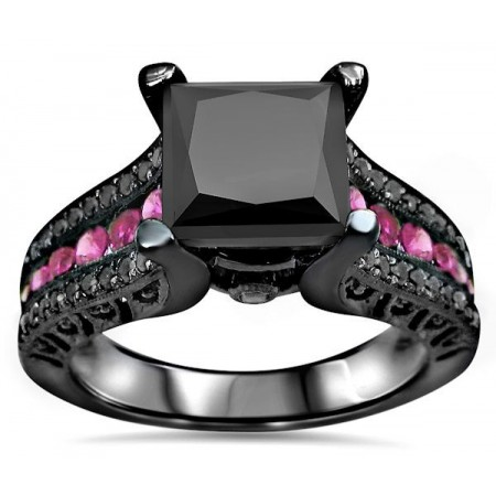 925 Sterling Silver Engagement Ring With Black CZ Inlaid