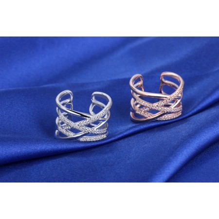 Simple Rose Gold Or White Women's Open Ring