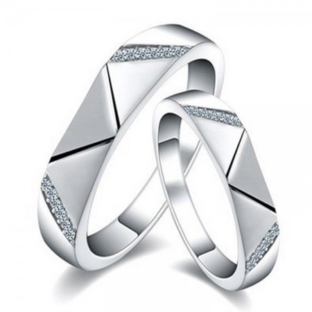 Shining Love Rhombic Sterling Silver Lovers Couple Rings With Open Loop