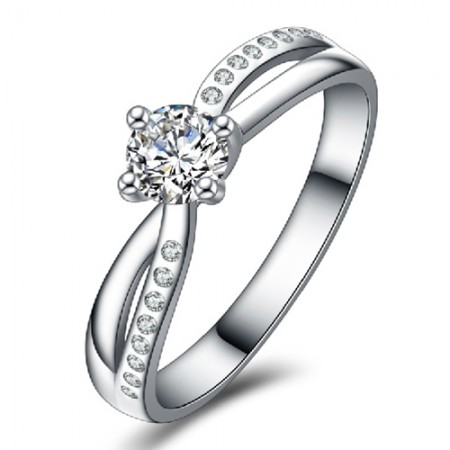 Wonderful Four Claws Round CZ Inlaid 925 Sterling Silver Engagement Ring