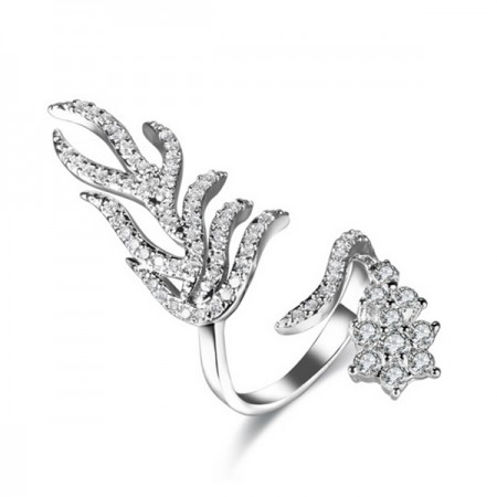Shining Flame-shaped Cubic Zircon Inlaid Opening Nail Ring For Women