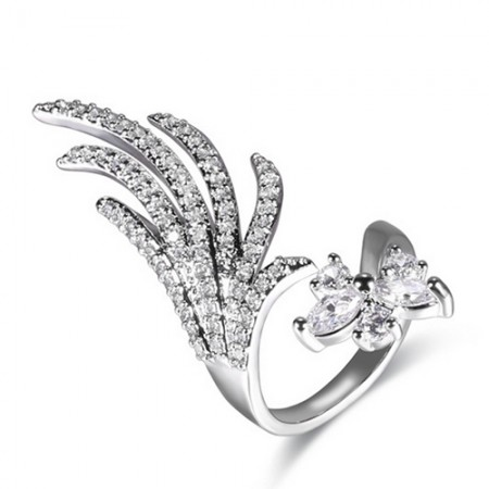Fashion Elegant Feather Shape Cubic Zircon Inlaid Opening Nail Ring For Women