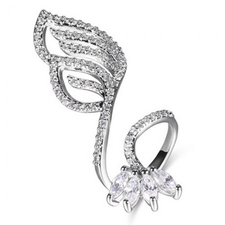 Wonderful Hollow Leaf-shaped Cubic Zircon Inlaid Silver Plating Opening Nail Ring