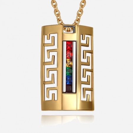 Fashion Gold-plated Titanium Steel Hollow Men And Women's Necklace