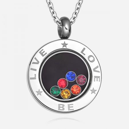 Simple Round Cubic Zircon Inlaid Titanium Steel Men And Women's Necklace