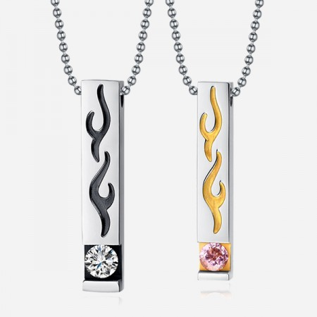 Exquisite Fire-shaped Stainless Steel Cubic Zircon Inlaid Lover's Necklace