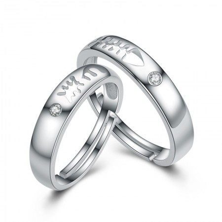Original Design Of Hollow Fish Bones Sterling Silver Lovers Couple Rings With Open Loop
