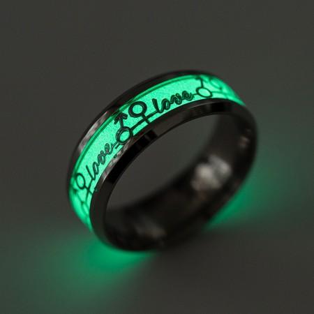 Cool Ktv Party Love Luminous Titanium Ring