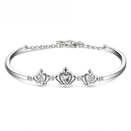 Three Lovely Crown With Rhinestone Woman's Sterling Silver Bracelet