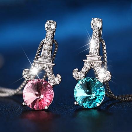 Amazing Eiffel Tower Shape Crystal Necklace