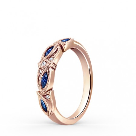 Rose Gold Plated Sapphire Wedding Band For Women