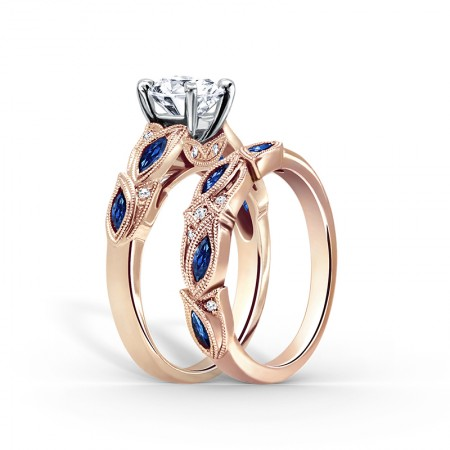 Rose Gold Created Round Cut Sapphire 925 Sterling Silver Leaf-shaped Design Bridal Ring Set