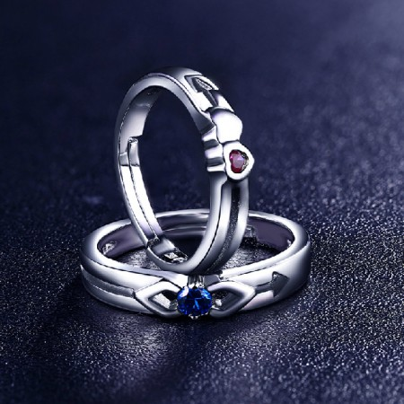 Adjustable Red / Blue Corundum Cupid's Arrow 925 Sterling Silver Lover Ring