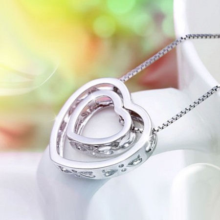 Cutout Two Hearts Pendant 925 Sterling Silver Simple Style Necklace for Women
