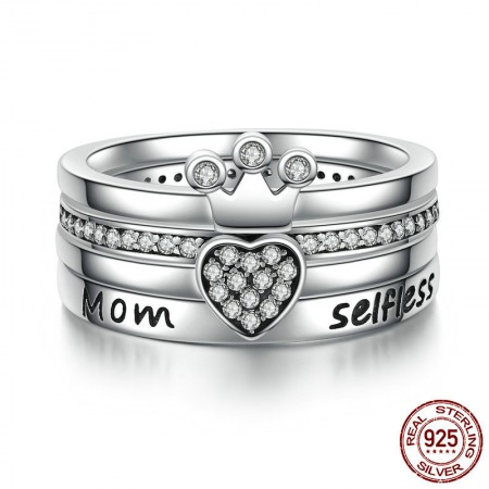 Personalized 925 Sterling Silver Cubic Zirconia Crown Heart Ring Set