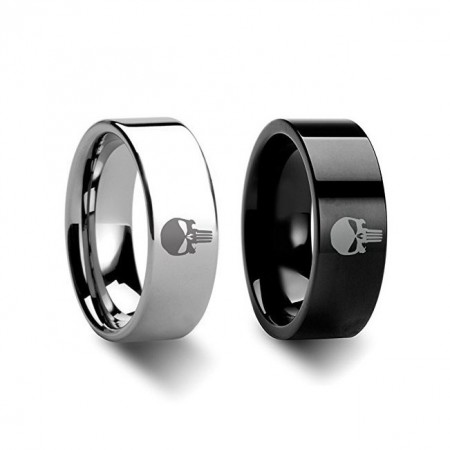 Punisher Logo Titanium Silver or Black Rings