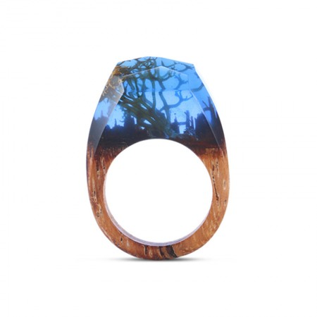 Unique Secret Forest Handmade Wood Resin Ring with Natural Scenery