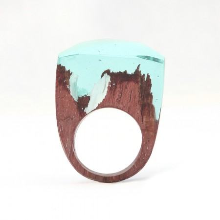 Unique Handmade Wood Resin Ring with Natural Scenery