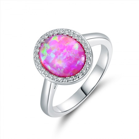 Oval Opal & Cz Sterling Silver Ring